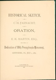 Cover of: Historical sketch | Charles H. Fasnacht