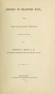 Cover of: History of Bradford, Mass | Gardner Braman Perry