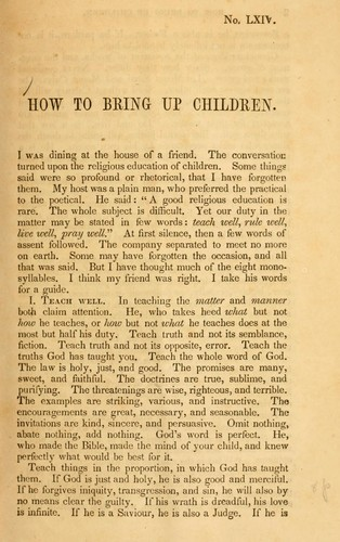 How to bring up children by William S. Plumer