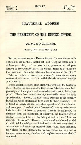 Inaugural address of the President of the United States on the fourth of March, 1861 by Abraham Lincoln