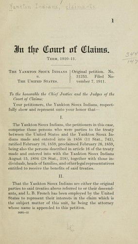 In the Court of claims by Yankton Indians, claimants