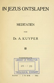 Cover of: In Jezus ontslapen | Abraham Kuyper