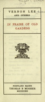 Cover of: In praise of old gardens | Vernon Lee