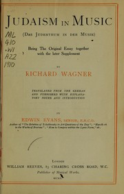 Cover of: Judaism in music | Richard Wagner