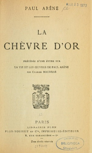 La chèvre d'or by Paul Auguste Arène