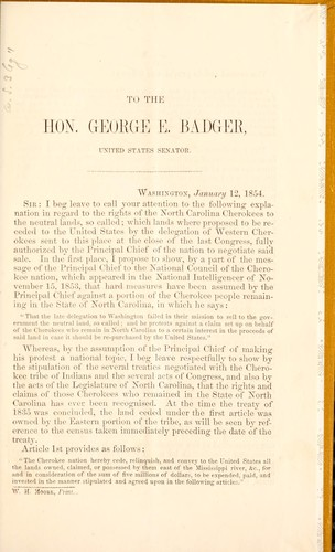 Letter to the Hon. George E. Badger, of the United States Senate, in vindication of the rights of the Cherokees in North Carolina to the neutral lands by Taylor, James