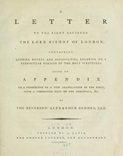 Cover of: A letter to the Right Reverend the Lord Bishop of London | Alexander Geddes