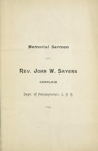 Memorial sermon by Sayers, John W.