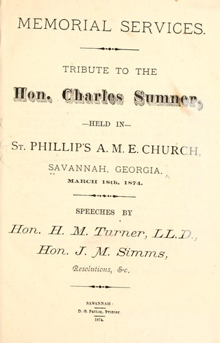 Memorial services by Savannah. St. Philip's African Methodist Episcopal church