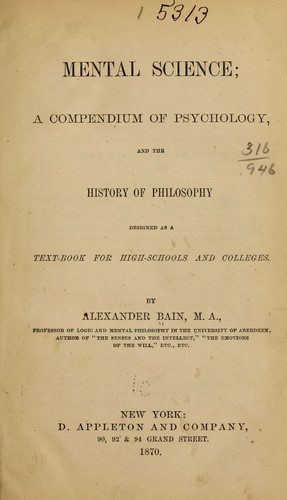 Mental science by Bain, Alexander