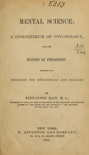Cover of: Mental science | Bain, Alexander