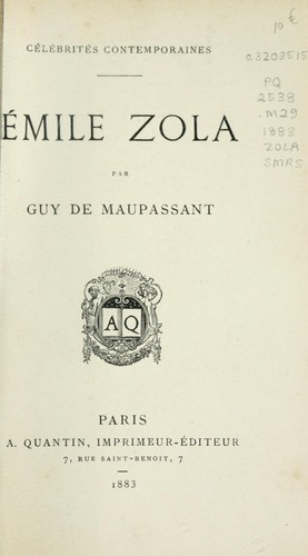 Émile Zola by Guy de Maupassant