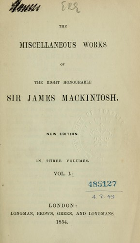 Miscellaneous works by Mackintosh, James Sir