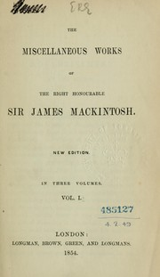Cover of: Miscellaneous works by Mackintosh, James Sir