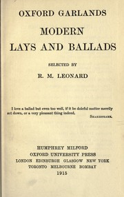 Cover of: Modern lays and ballads by Robert Maynard Leonard