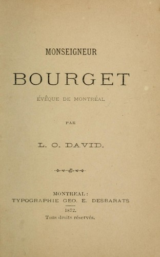 Monseigneur Bourget by L.-O David