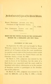 Cover of: Moses Whitmire, trustee for the freedmen of the Cherokee nation, v. the Cherokee nation and the United States by United States. Dept. of Justice.
