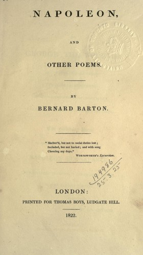 Napoleon, and other poems by Bernard Barton