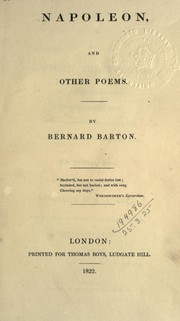 Cover of: Napoleon, and other poems | Bernard Barton