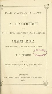Cover of: The nation's loss by Hiram P. Crozier