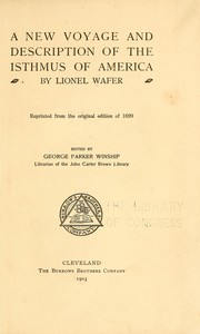 Cover of: A new voyage & description of the isthmus of America | Lionel Wafer
