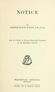 Cover of: Notice | George Fitch Wells