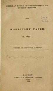 Cover of: Notices of Chippeway converts | William Montague Ferry