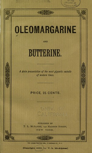 Oleomargarine and butterine by