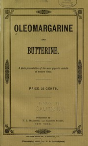 Cover of: Oleomargarine and butterine by