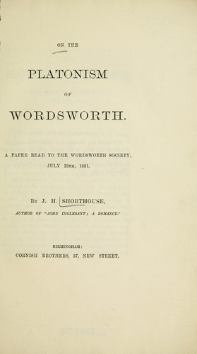 On the Platonism of Wordsworth by J.H. (Joseph Henry) Shorthouse