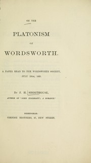 Cover of: On the Platonism of Wordsworth | J.H. (Joseph Henry) Shorthouse
