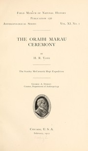 Cover of: The Oraibi Marau ceremony | Voth, Henry R