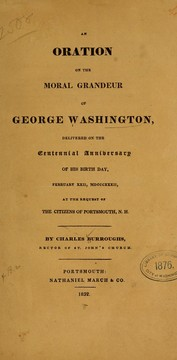 Cover of: An oration on the moral grandeur of George Washington | Charles Burroughs