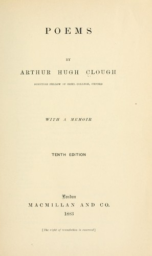 Poems; with a memoir by Arthur Hugh Clough