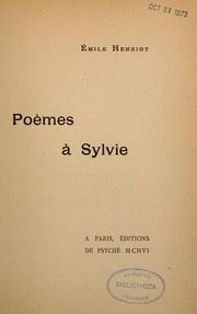 Cover of: Poèmes à Sylvie | Emile Henriot
