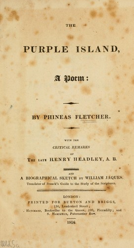 The purple island, a poem by Phineas Fletcher