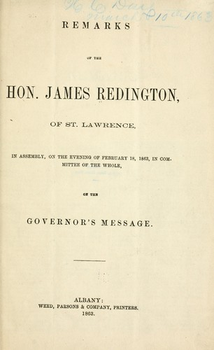 Remarks of the Hon. James Redington by Redington, James