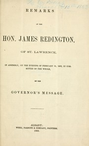 Cover of: Remarks of the Hon. James Redington | Redington, James