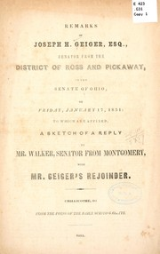 Cover of: Remarks of Joseph H. Geiger, esq by Joseph H. Geiger
