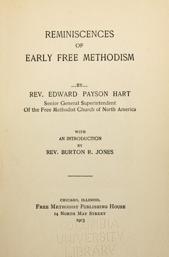 Reminiscences of early Free Methodism by Edward Payson Hart