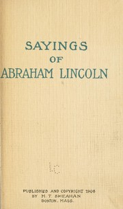 Cover of: Sayings of Abraham Lincoln | Abraham Lincoln