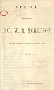 Cover of: Speech delivered by Col by William Ralls Morrison