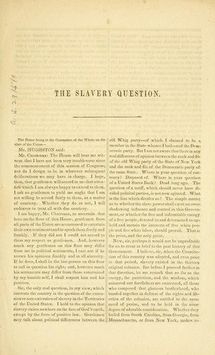 Speech of Hon. J. A. Hughston, of New York, on the slavery question, delivered in the House of representatives, April 8, 1856 by Jonas A. Hughston