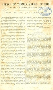 Cover of: Speech of Thomas Morris, of Ohio, in the U.S. Senate, February 9, 1839 by Morris, Thomas