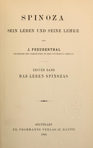 Spinoza by Jacob Freudenthal