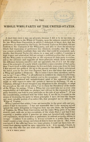 To the whole Whig party of the United States by Botts, John Minor