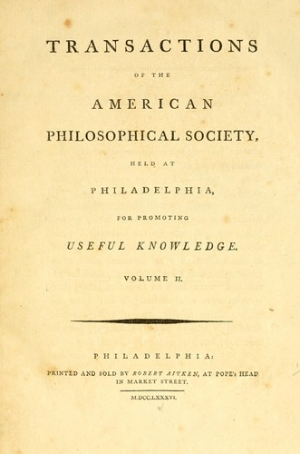 Transactions of the American Philosophical Society by American Philosophical Society.