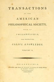 Cover of: Transactions of the American Philosophical Society | American Philosophical Society.
