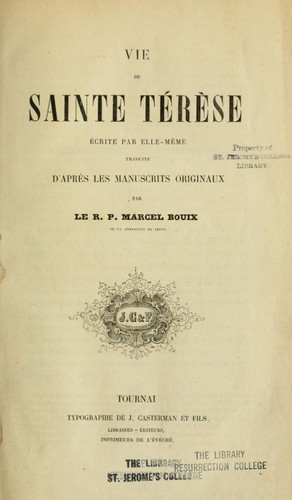 Vie de Sainte Térèsa by Teresa of Avila, Saint