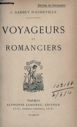 Voyageurs et romanciers by J. Barbey d'Aurevilly